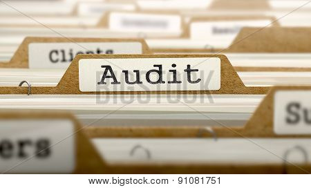 Audit Concept. Word on Folder Register of Card Index. Selective Focus. poster