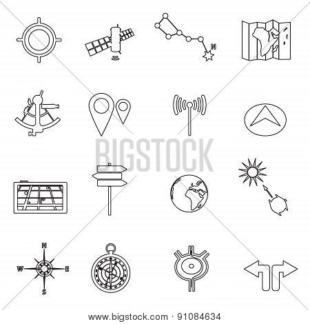 Navigation And Travel Outline Icons Set Eps10
