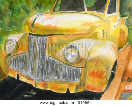 Painting Of Old Yellow Truck