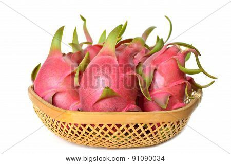 Dragon fruit in bamboo basket