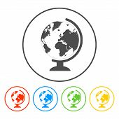 geography school earth globe web icon. vector illustration poster