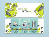 Sale of electronics items website header or banner with discount offer. poster