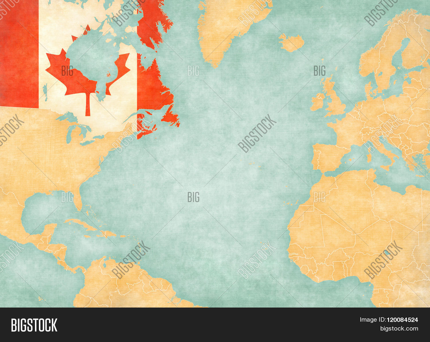 Canada canadian flag on map north image photo bigstock canada canadian flag on the map of north atlantic ocean the map is gumiabroncs Choice Image