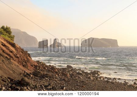Portugal landscape ocean and rocks from Azores Islands