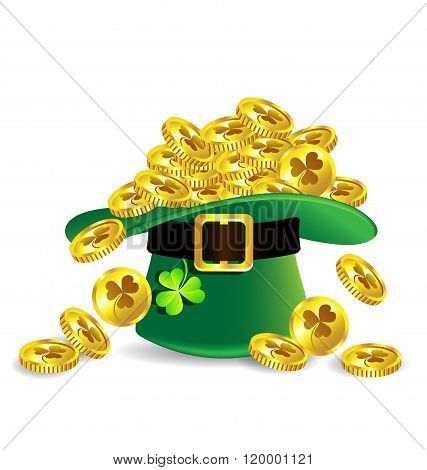 Gold Coin In Green St. Patrick's Day Hat With Shamrock