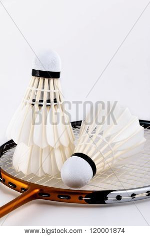 A set of badminton, Badminton racket and shuttlecock isolated on white background.