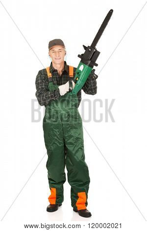 Adult sawyer with chainsaw