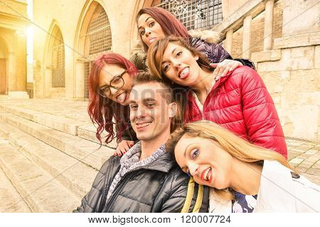Best Multiracial Friends Taking Selfie Outdoors In Urban Contest  - Happy Friendship Concept