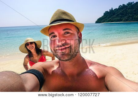 Handsome Hipster Couple Making Selfie On Paradise Beach - Young Trendy People Having Fun Together