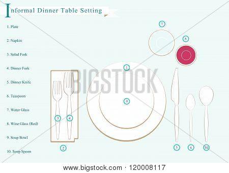 Detailed Illustration Of Dinner Table Setting Diagram