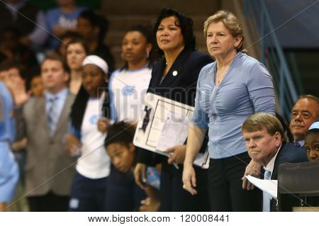 CHAPEL HILL, NC-FEB 28: University of North Carolina head coach Sylvia Hatchell (R) reacts on the sidelines against the Duke Blue Devils during the first half on February 28, 2016 at Carmichael Arena.