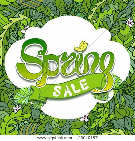 Vector White Banner Of Green Text Spring Sale On Leaves