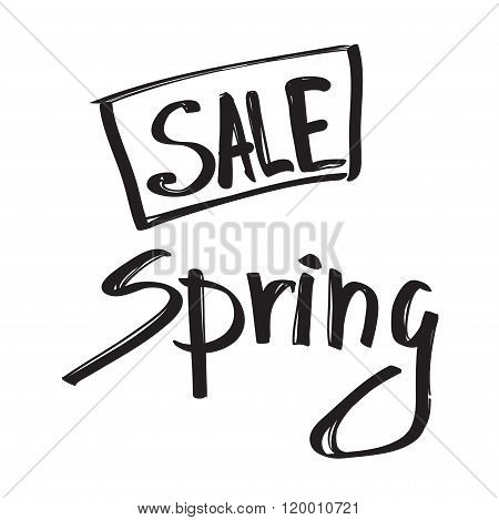 Spring sale black grunge lettering isolated on white background