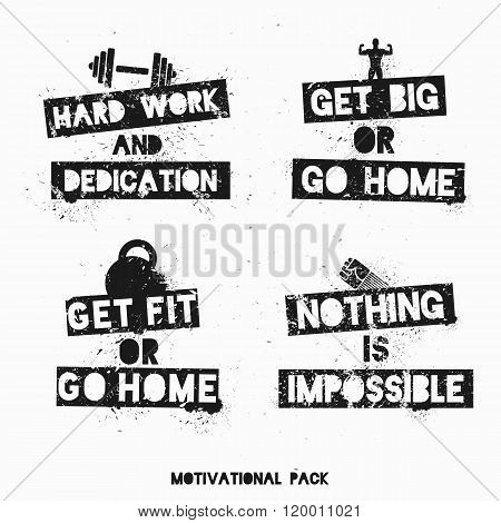 Set of motivational and inspirational posters, stickers or labels.