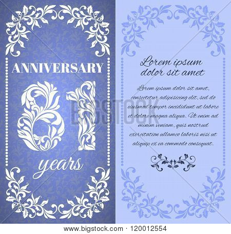 Luxury Template With Floral Frame And A Decorative Pattern For The 81 Years Anniversary. There Is A
