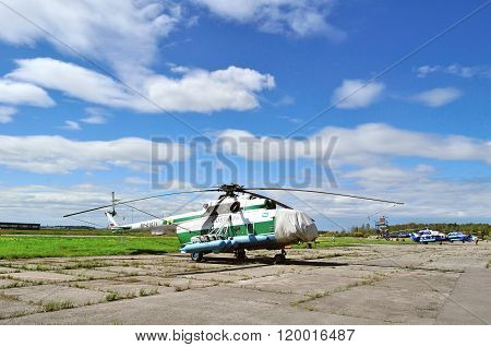 The Mil Mi-8Mtv-1  Helicopter Of Federal Customs Service Of Russia In Pulkovo Airport In Saint-peter