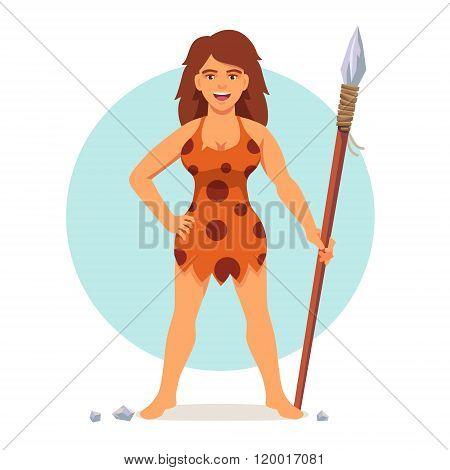 Stone age woman in animal hide pelt