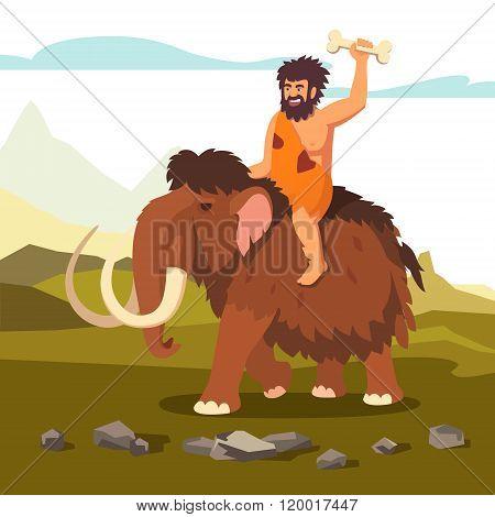 Stone age primitive man riding mammoth