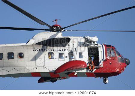 Coastguard Rescue Helicopter in flight