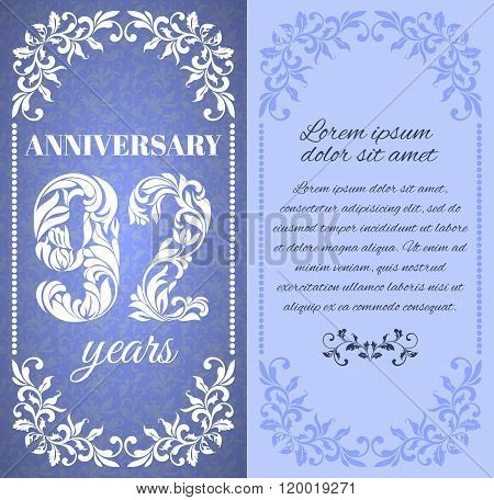 Luxury Template With Floral Frame And A Decorative Pattern For The 92 Years Anniversary. There Is A