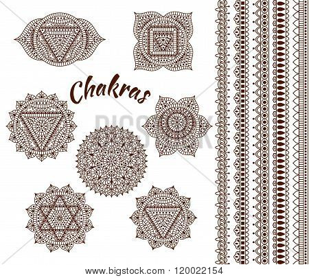 Set of seven chakras. Oriental ornaments and borders for henna tattoo and for your design. Buddhism