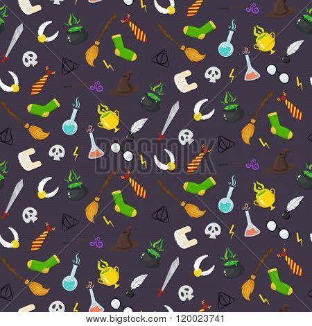 Seamless Pattern With Different Magic Elements For Witches In Cartoon Style