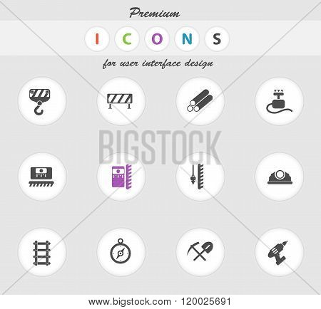Building equipment icons set