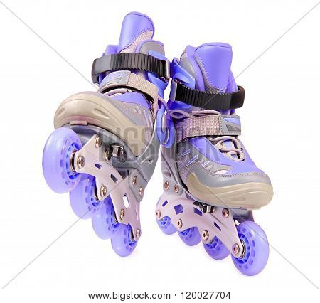 Blue rollerskates isolated on white