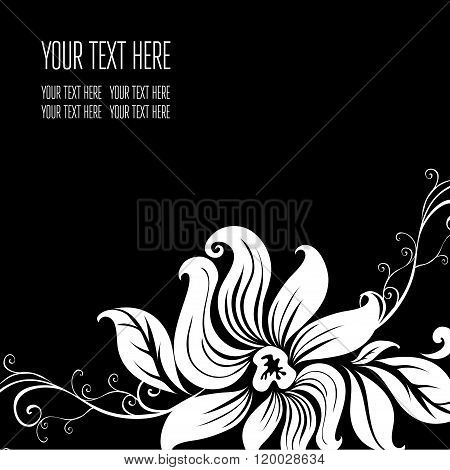 Vector Stylish Black Floral Background