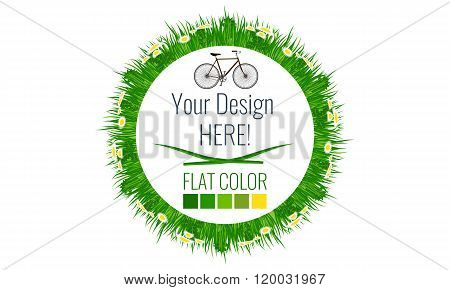 Circle With Grass And Leafs, spring summer theme background, Vector.
