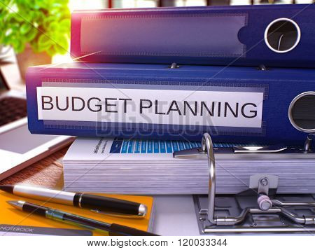 Blue Ring Binder with Inscription Budget Planning.