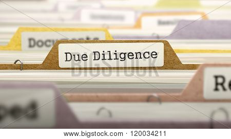 Due Diligence Concept on File Label.