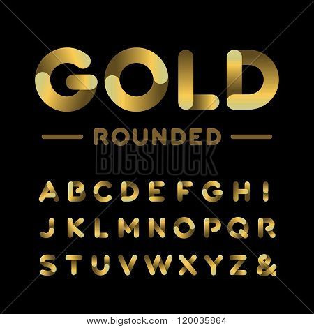 Golden Rounded Font. Vector Alphabet With Gold Effect Letters.