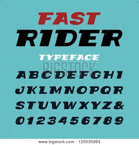Wide Italic Font. Vector Alphabet With Latin Letters And Numbers.