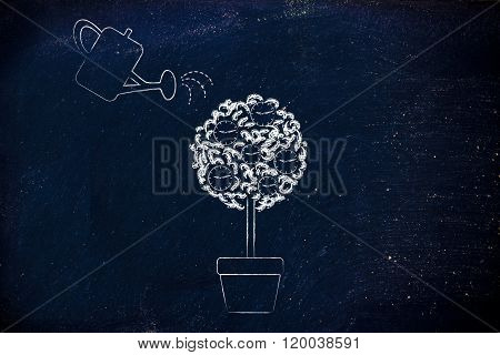 Tree With Clocks Among Leaves And Watering Can