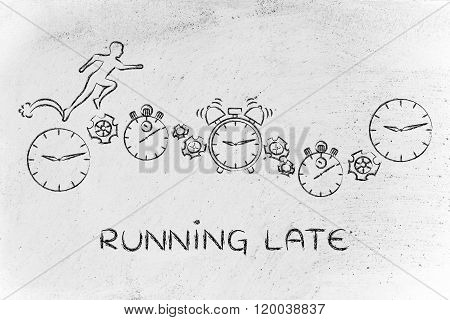 Man Running On Clocks, Stopwatches And Alarms; Running Late