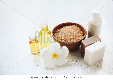 Spa decoration, natural organic bath products set