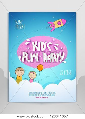 Kid's Fun Party celebration Flyer, Banner or Pamphlet.