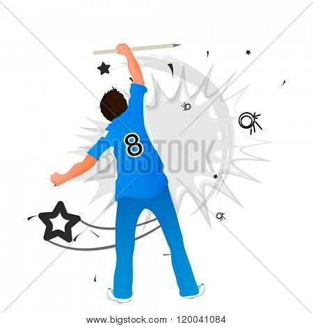 Illustration of a Cricket player holding wicket stumps on abstract grey background.