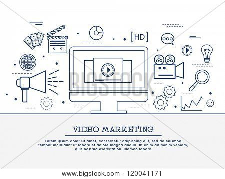 Video marketing strategy, showing product overview, creating explainer video, promoting business, increasing sale concepts web banner, hero image, website header. Line art vector illustrations.