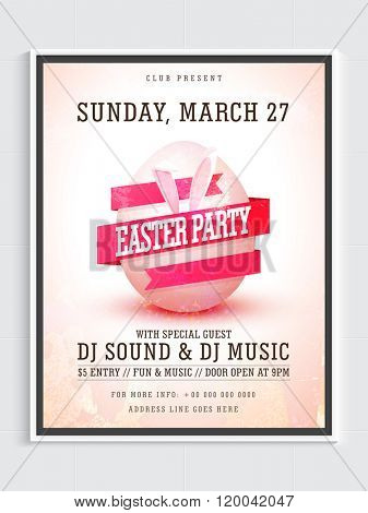 Pamphlet, Banner or Flyer design with illustration of pink ribbon and bunny ears around an egg for Easter Party celebration.