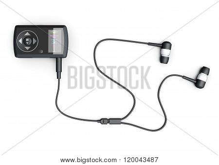 MP3 player on white background, top view. 3d rendering