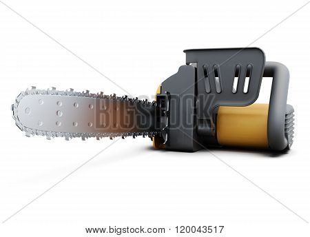 Electric saw isolated on a white background. 3d rendering