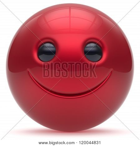 Smiling face head ball cheerful sphere emoticon cartoon smiley happy decoration cute red. Smile funny joyful person laughing joy character toy good avatar