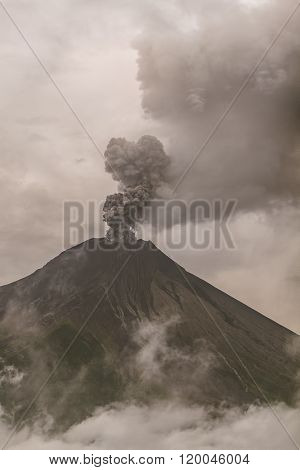 View Of Tungurahua Volcano Powerful Explosion At Sunset February 2016 South America