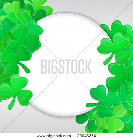 Patricks Day Green Clover Frame Cartoon White 4