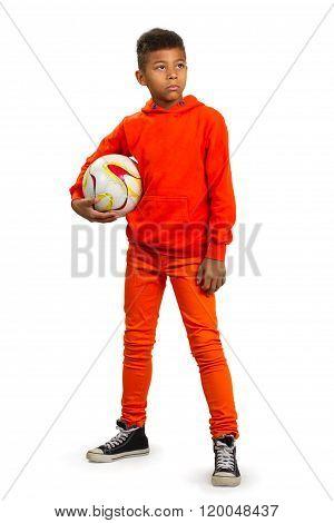 Boy with football ball.