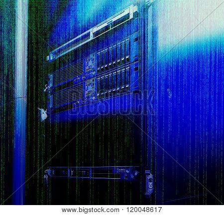 blade server with the matrix code and blur blue toning