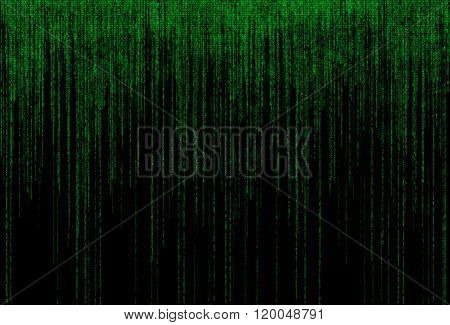 Green binary code on black background