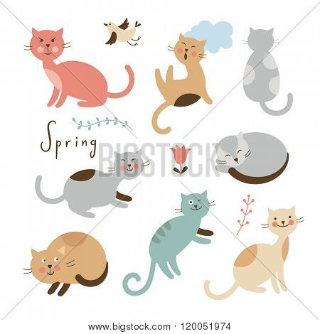 Set of vector cute cats. Cartoon cats in various poses